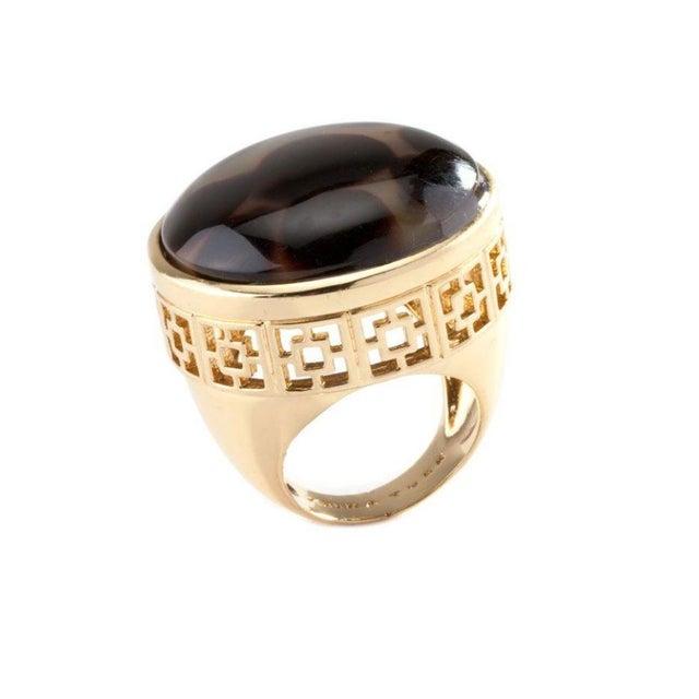 Trina Turk Oversize Faux Tortoise Gold Ring Size 7 - Image 1 of 1