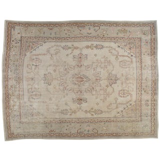 "Vintage Turkish Oushak Distressed Rug - 10'3"" X 13'6"""