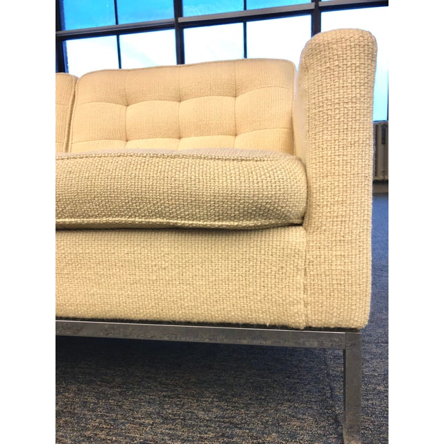 Mid-Century Modern Florence Knoll Cream Colored Wool and Chrome Three Seat Sofa - Image 5 of 7