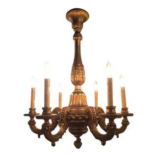 19th Century French Giltwood Six-Light Chandelier