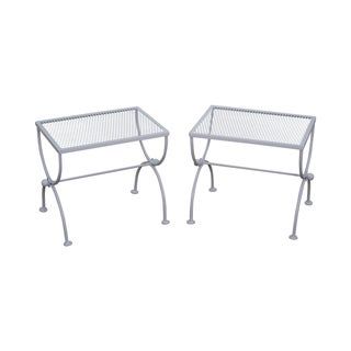 Mid Century White Metal X Base Low Tables - Pair