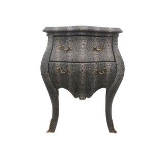 Faux Snakeskin Bombe Chest Nightstand