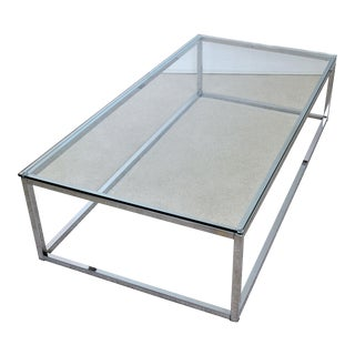 Milo Baughman Style Mid Century Modern Chrome & Glass Coffee Cocktail Table