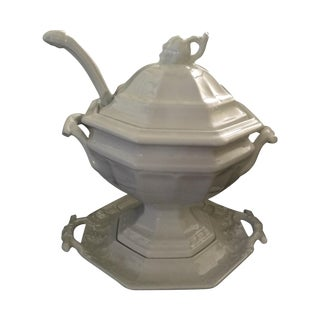 Vintage Ironstone Soup Tureen With Ladle