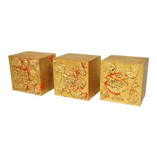 Set of 3 Wall Mounted Gilt Wood Blocks