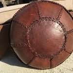 Image of Vintage Bohemian Hand Stitched Leather Floor Pillow