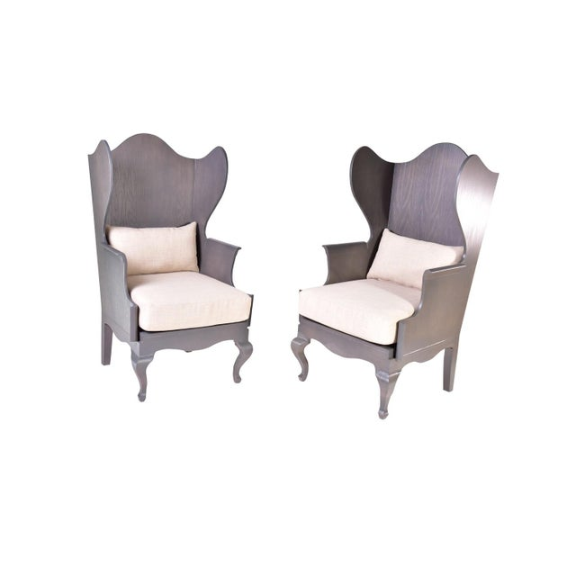 Wood Wingback Chair - Image 4 of 6