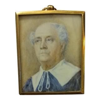 19th Century Painted Miniature Portrait of Older Gentleman, 1830s