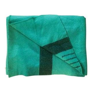 Mid-Century Green 4 Point Wool Throw Blanket