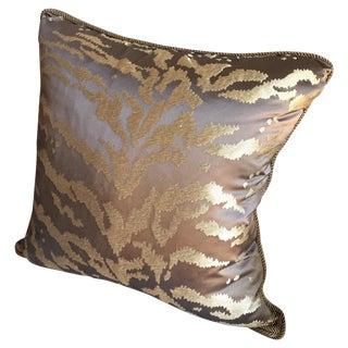 """20x20"""" Custom Gold & Bronze Silk Damask Pillow"""