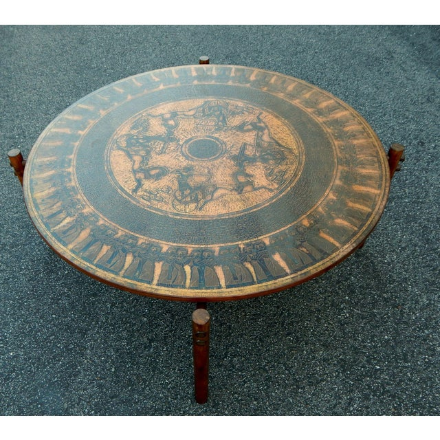Stamped Copper Egyptian Theme Coffee Table, 1970 - Image 3 of 7