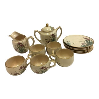 Japanese Porcelain Irises Tea Set - Set of 13