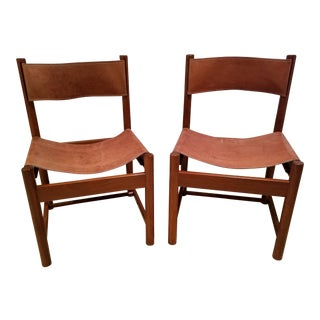 Michel Arnoult Imbuia Wood & Leather Chairs - A Pair
