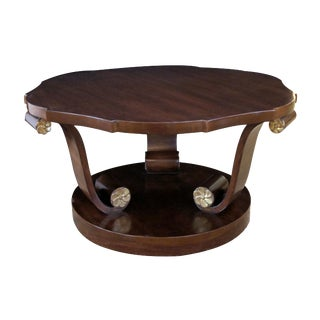 A Handsome American Art Deco Style Mahogany Cocktail Table with Scrolled Legs