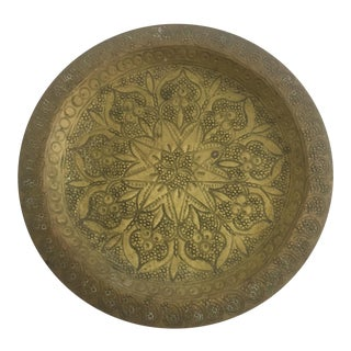 Small Vintage Hand Hammered Brass Plate