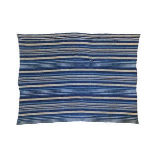 "Indigo Blue Striped Throw - 3'7"" X 4'10"""