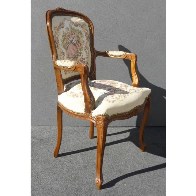 Vintage French Provincial Accent Arm Chairs - Pair - Image 4 of 11