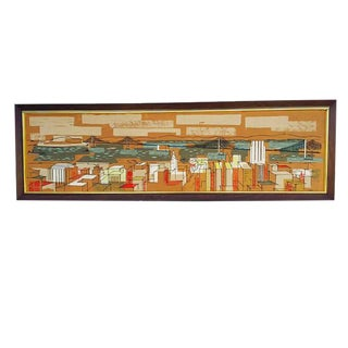 Mid Century Modern Wall Print Atomic Architectural City Scape 63""
