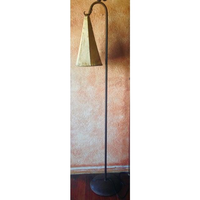 Distressed Goat Skin Lamp Shade Floor Lamp - Image 2 of 5