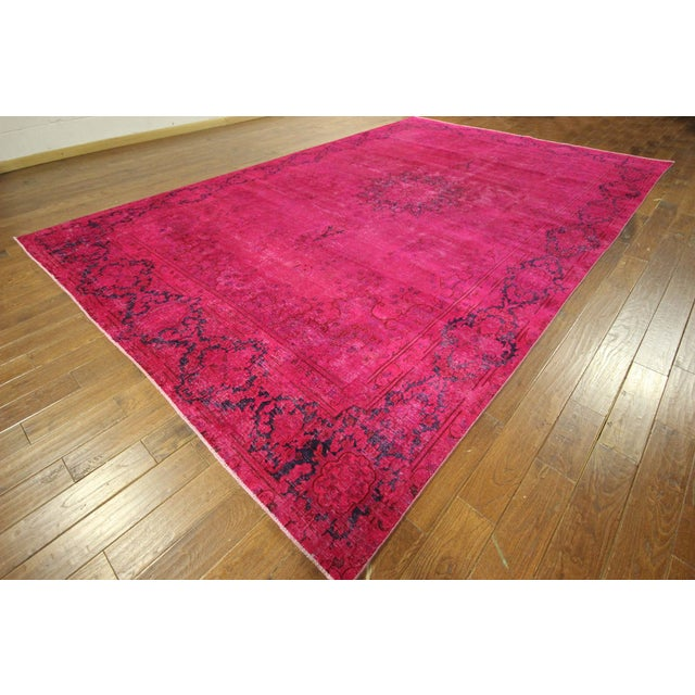 "Pink Overdyed Oriental Floral Rug - 9'6"" x 14'10"" - Image 2 of 10"