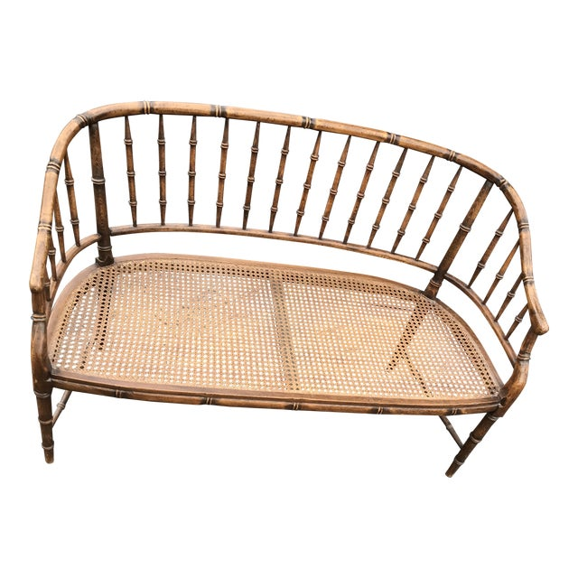 British Colonial Faux Bamboo Cane Settee - Image 1 of 4