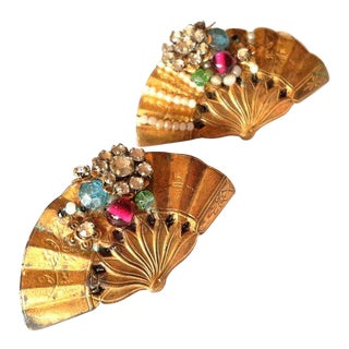 1920s Rhinestones & Beads Fan Brooches  - A Pair