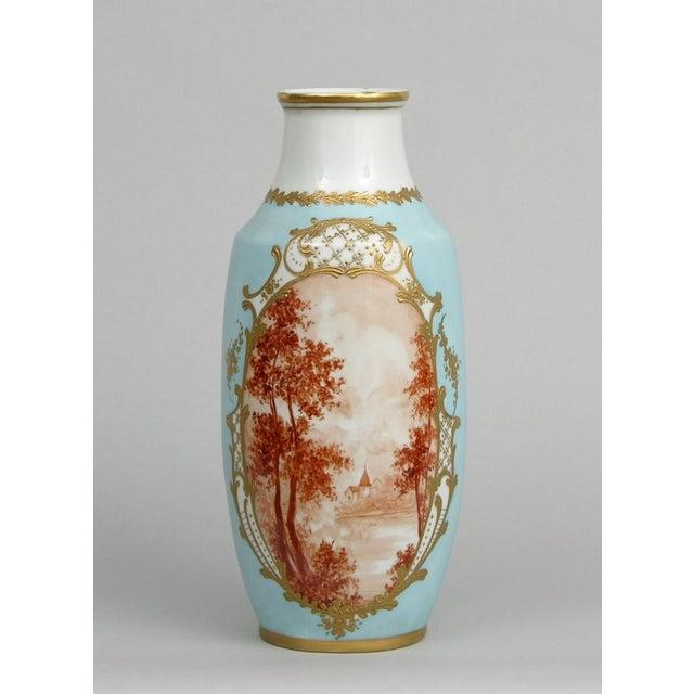 French Antique Porcelain Toile Vase - Image 2 of 10