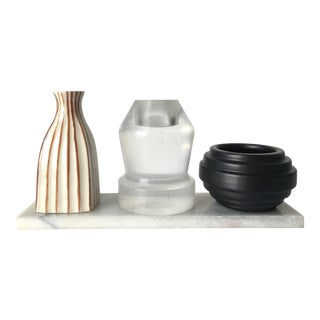 Modern Candle Holders on Marble Slab - Set of 4