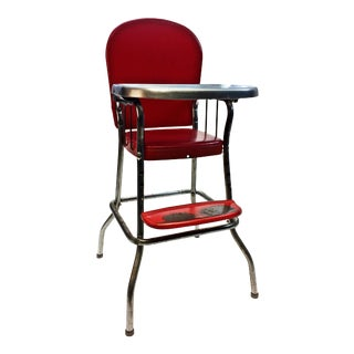 Mid Century Red Cosco Metal High Chair with Tray