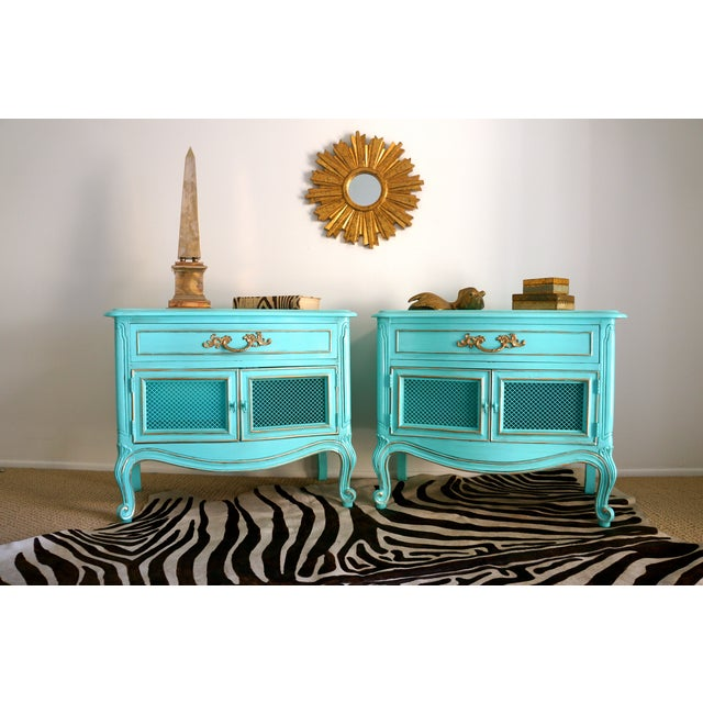 French Style Turquoise Nightstands - Pair - Image 4 of 10
