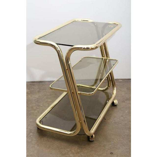Morex Italian Modern Glam Brass and Smoked Glass Bar Cart, Trolley or Server - Image 8 of 9