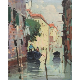 """Vintage """"Canals of Venice"""" Oil Painting"""