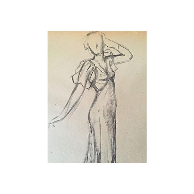 Image of Vintage Fashion Study Drawing by J. Mason Reeves