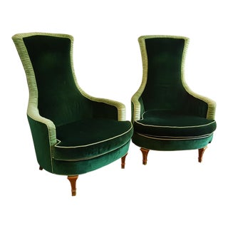 Emerald Green Velvet Club Chairs - A Pair