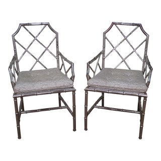 Mid Century Pair of Chinese Chippendale Style Italian Silver Gilt Metal Arm Chairs by Flair (A)