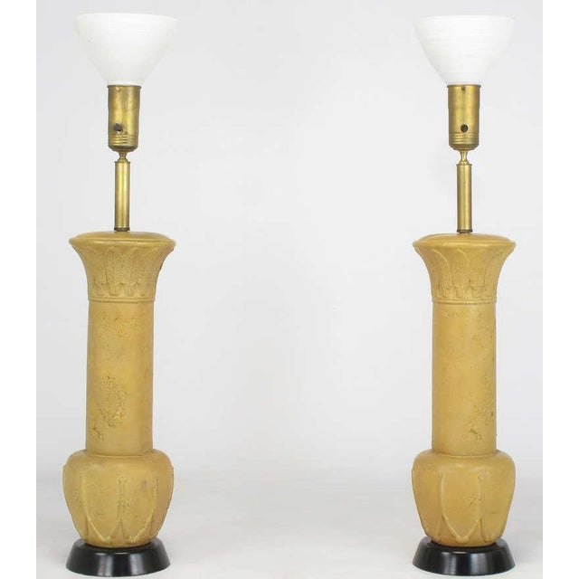 "Image of Pair 51"" Terra Cotta Table Lamps With Acanthus Leaf Detail"