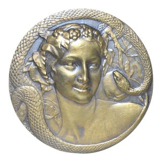 "Henri Dropsy ""Eve and the Serpent in the Garden of Evil"" Bronze Medal c.1920"