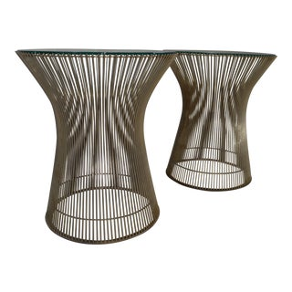 Warren Platner for Knoll Nickel & Glass Side Tables - A Pair