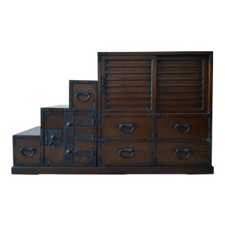 Vintage Japanese Style Step Tansu Chest