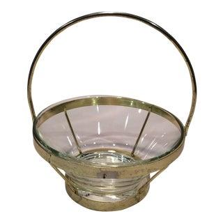 Mid-Century Modern Gold Caddie & Glass Bowl