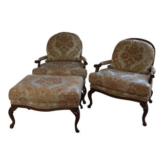 Mahogany Bergere Chairs With Ottoman - Set of 3