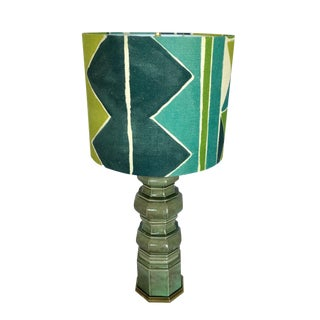 Vintage Ceramic Table Lamp & Larsen Custom Shade