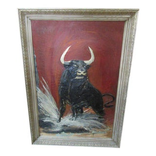 Thick Vintage Bull Painting