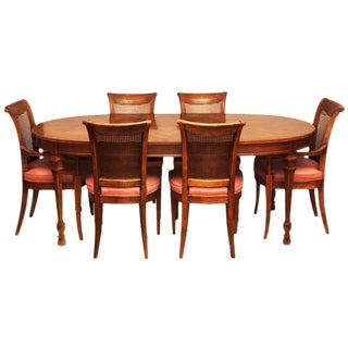 Vintage Drexel Hepplewhite Dining or Game Table & 6 Chairs Set