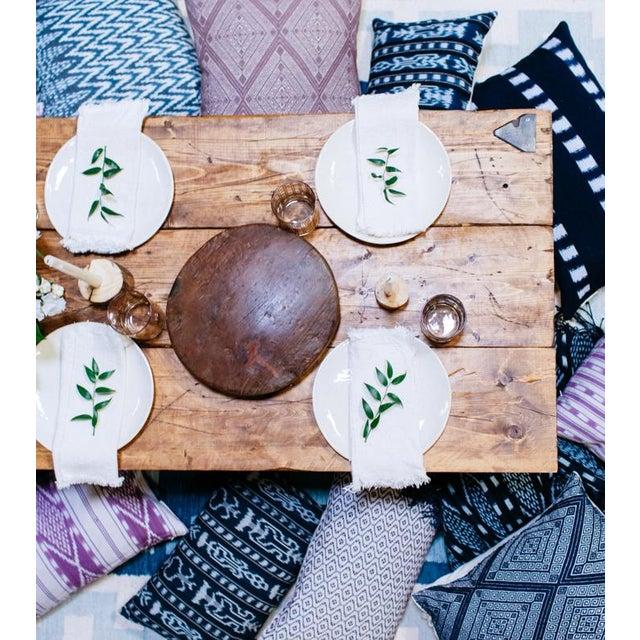 Zigzag Indigo Ikat Handwoven Guatemalan Pillow - Image 5 of 8