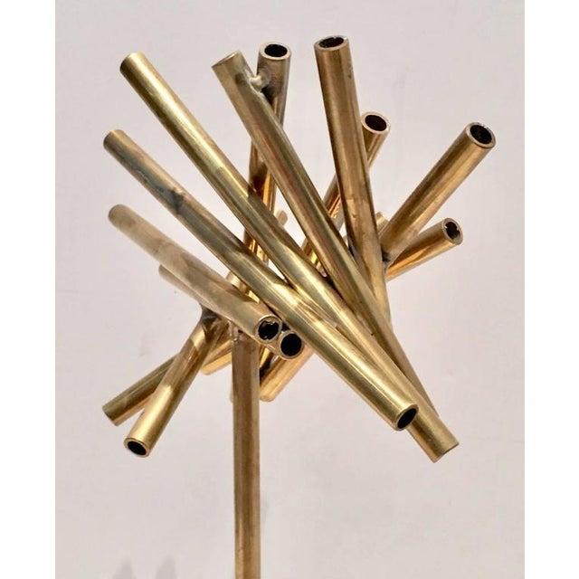 Modern Brass & Marble Abstract Tubular Sticks Sculpture - Image 7 of 9