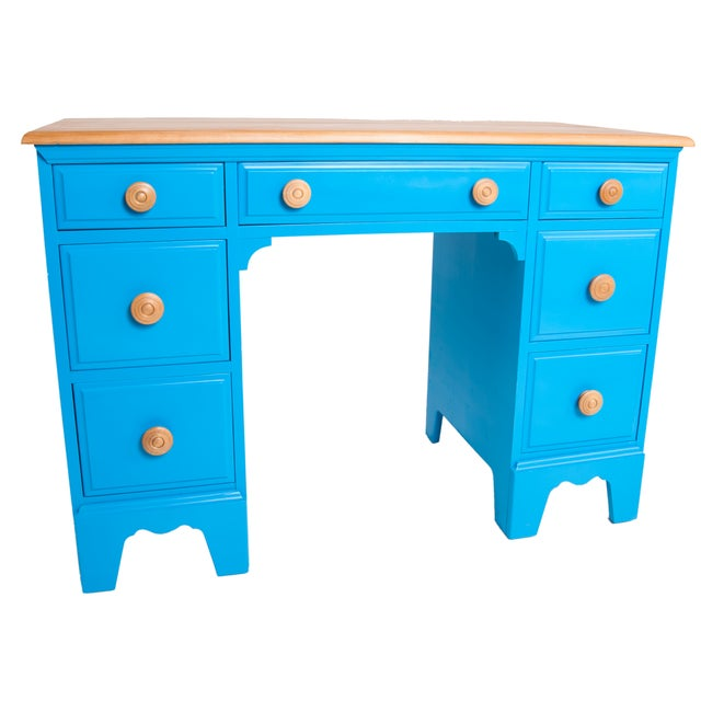 Vintage Painted Blue Maple Knee Hole Desk - Image 3 of 4