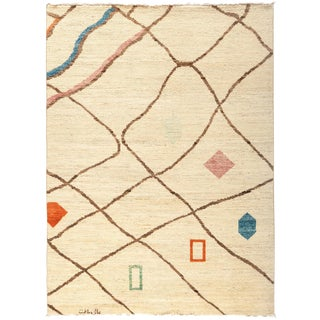 """Moroccan Hand-Knotted Rug - 5' x 6' 9"""""""