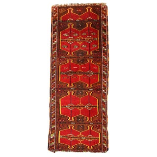 Antique Turkish Yastik Rug- 2′6″ × 6′2″