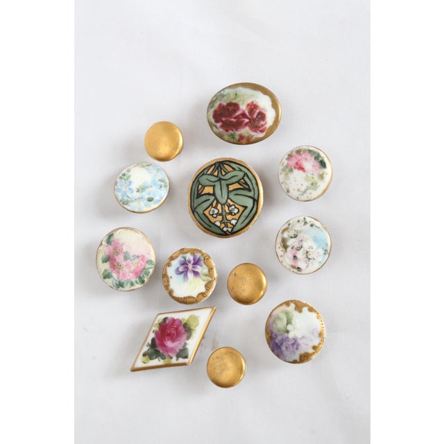 Image of Antique Hand-Painted Porcelain Studs/Buttons - Set of 12